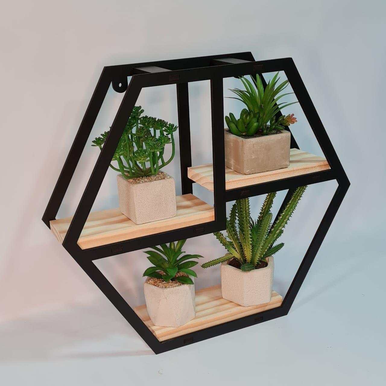 Prateleira Decorativa Nicho Madeira Hexagonal Preto