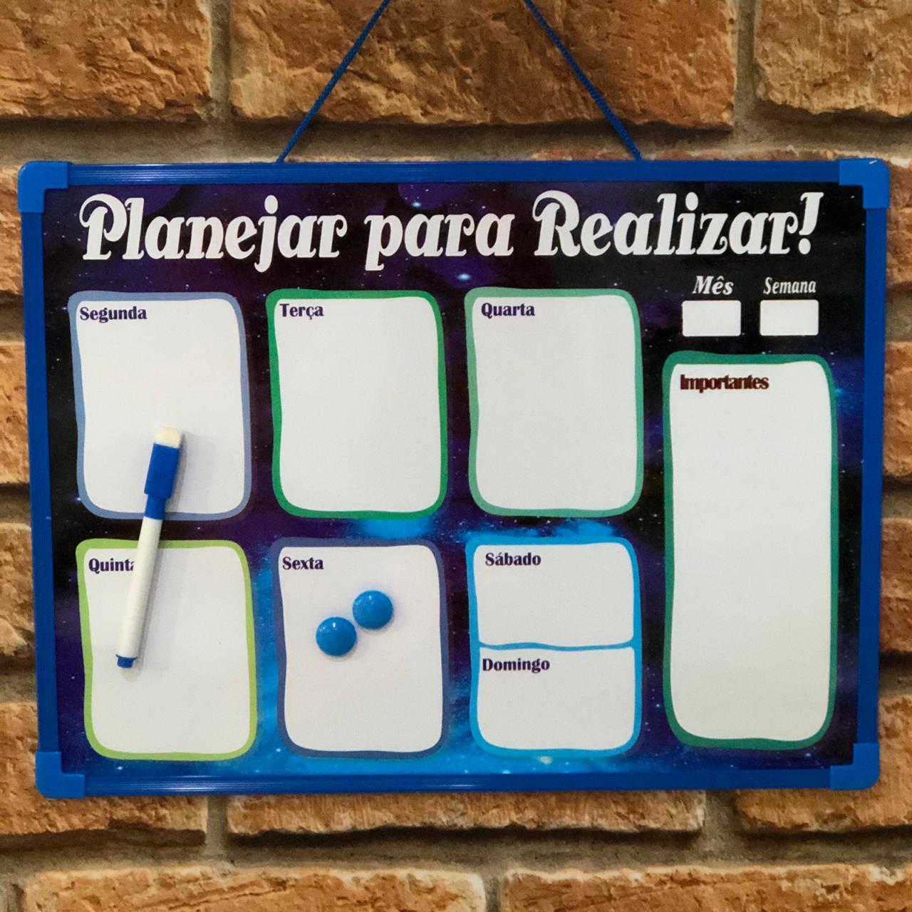 Planner Magnético Quadro Planejamento Semanal Azul