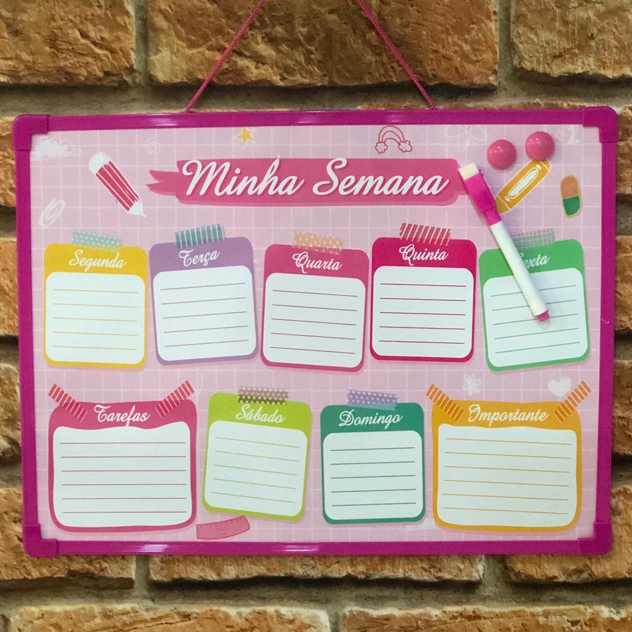 Planner Magnético Quadro de Planejamento Semanal Rosa