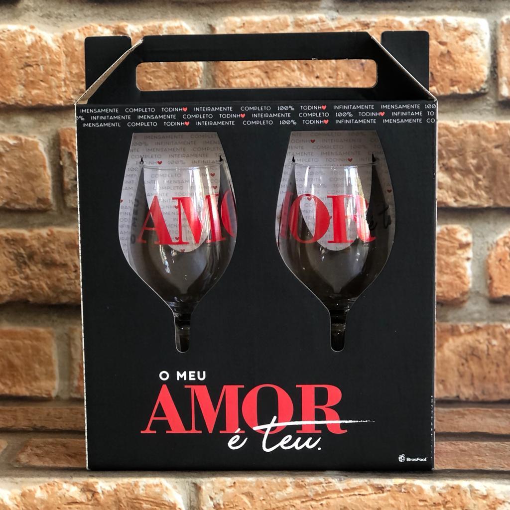 Taça para Vinho 385ml Meu Amor é Teu