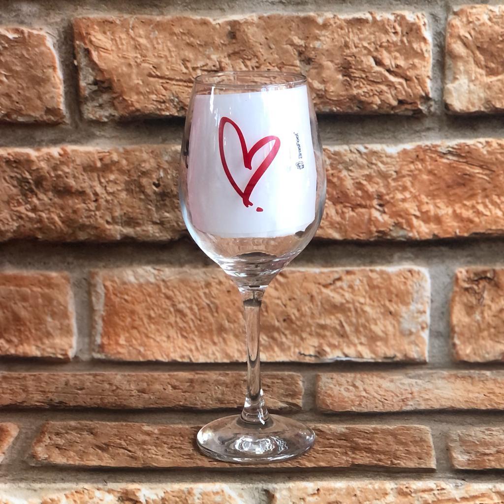 Taça para Vinho 385ml Te Amo com Todo Coração
