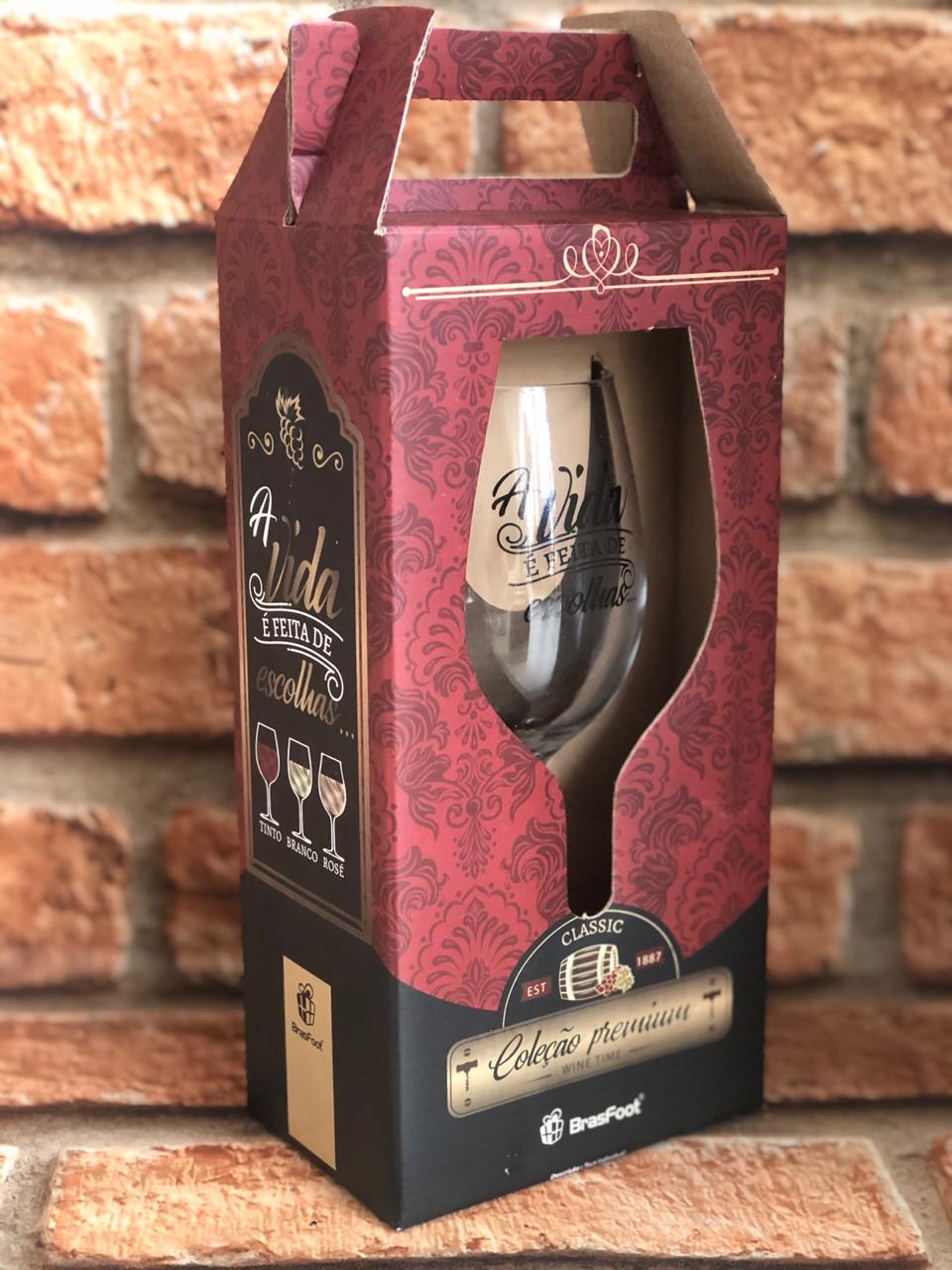"""Taça para Vinho Premium """"A Vida é Feita de Escolhas..."""""""