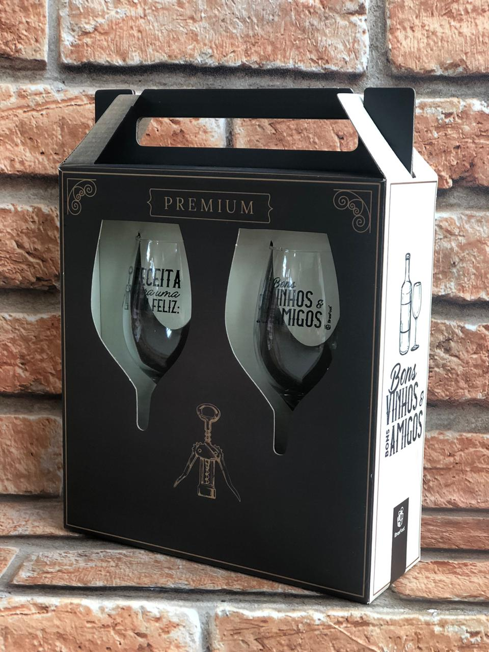 """Taças para Vinho Premium """"Receita para uma Vida Feliz"""""""