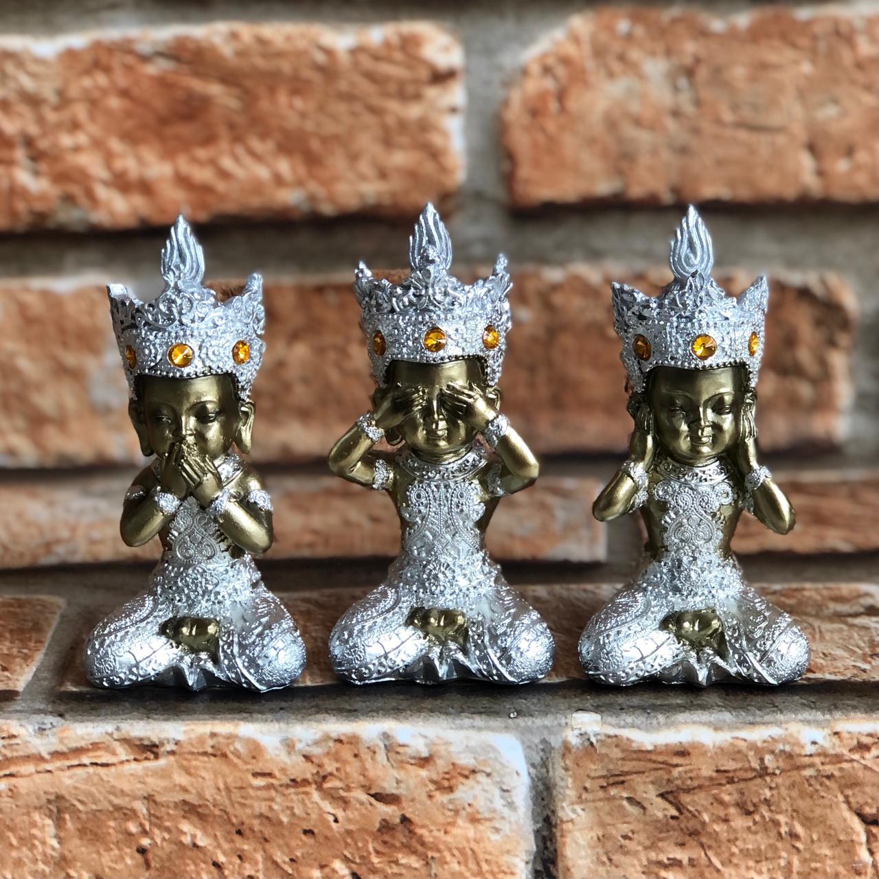 Trio de Budas Tailandês de Resina