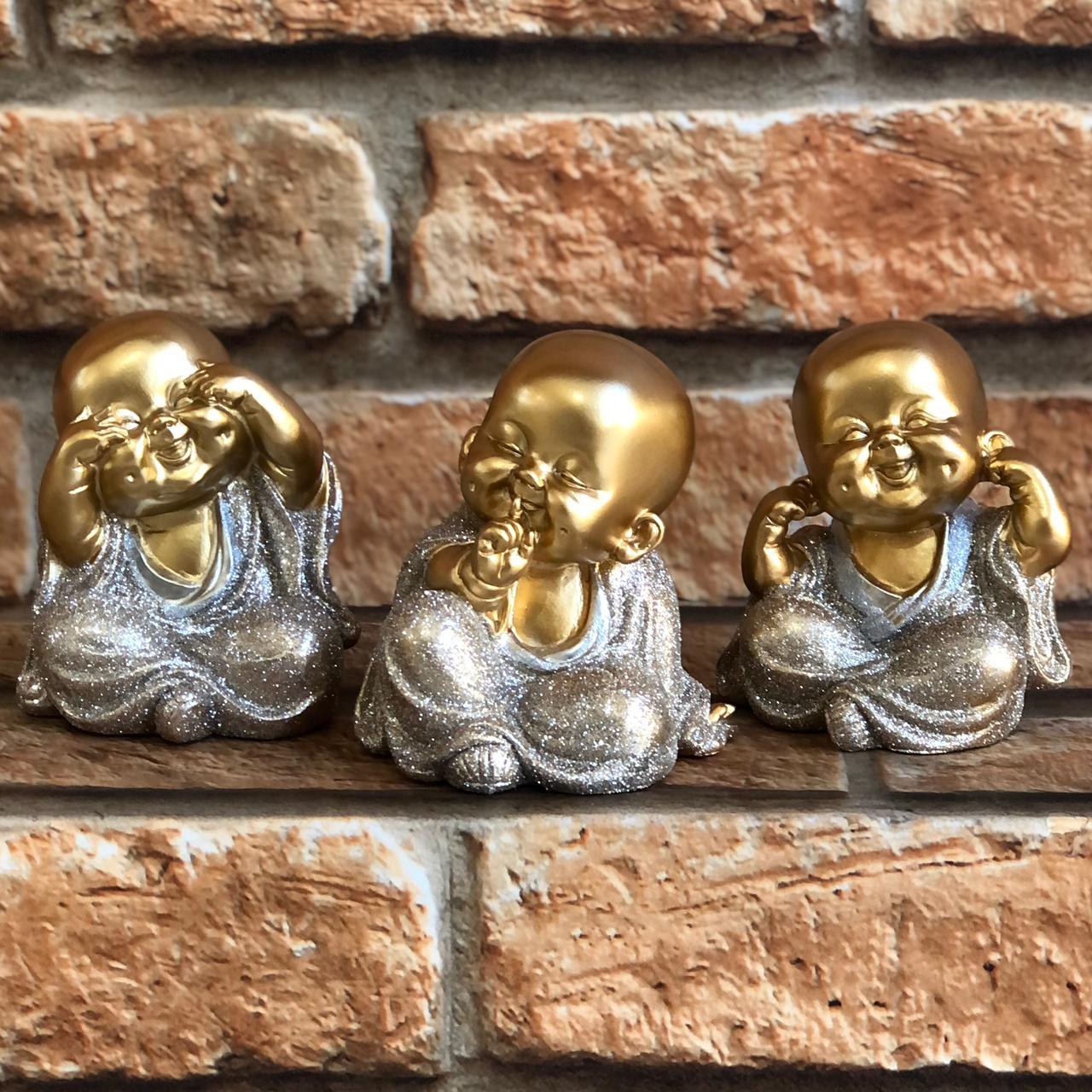 """Trio de Budas Dourado Glitter """"Não vejo, Não Falo, Não Ouço o Mal"""""""