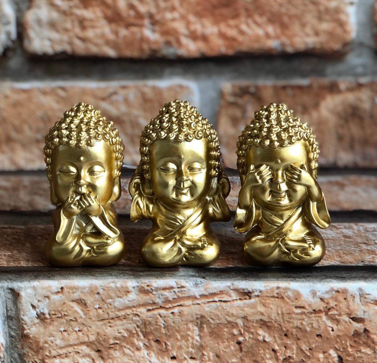 """Trio de Budas Cromado de Resina """"Não veja, Não fale, Não ouça"""""""