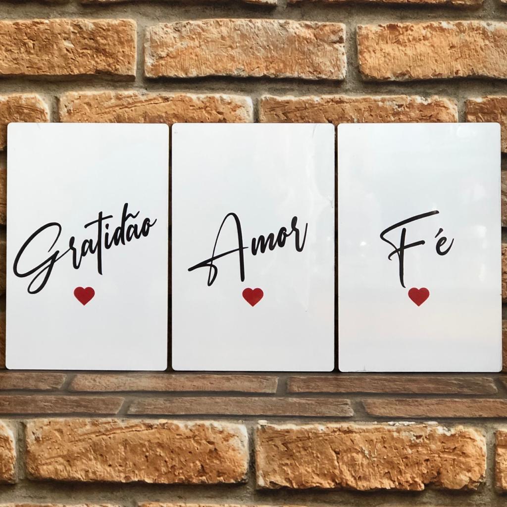 Trio de Placas MDF Amor, Fé, Gratidão