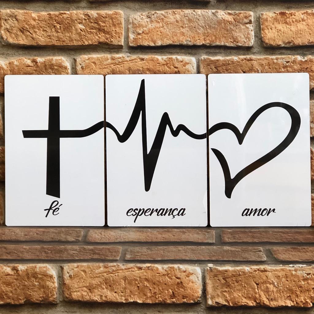 Trio de Placas MDF Fé, Esperança, Amor