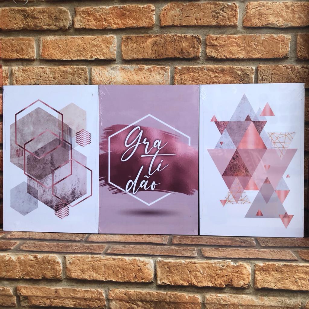 Trio de Placas Rosa Geométrico Gratidão
