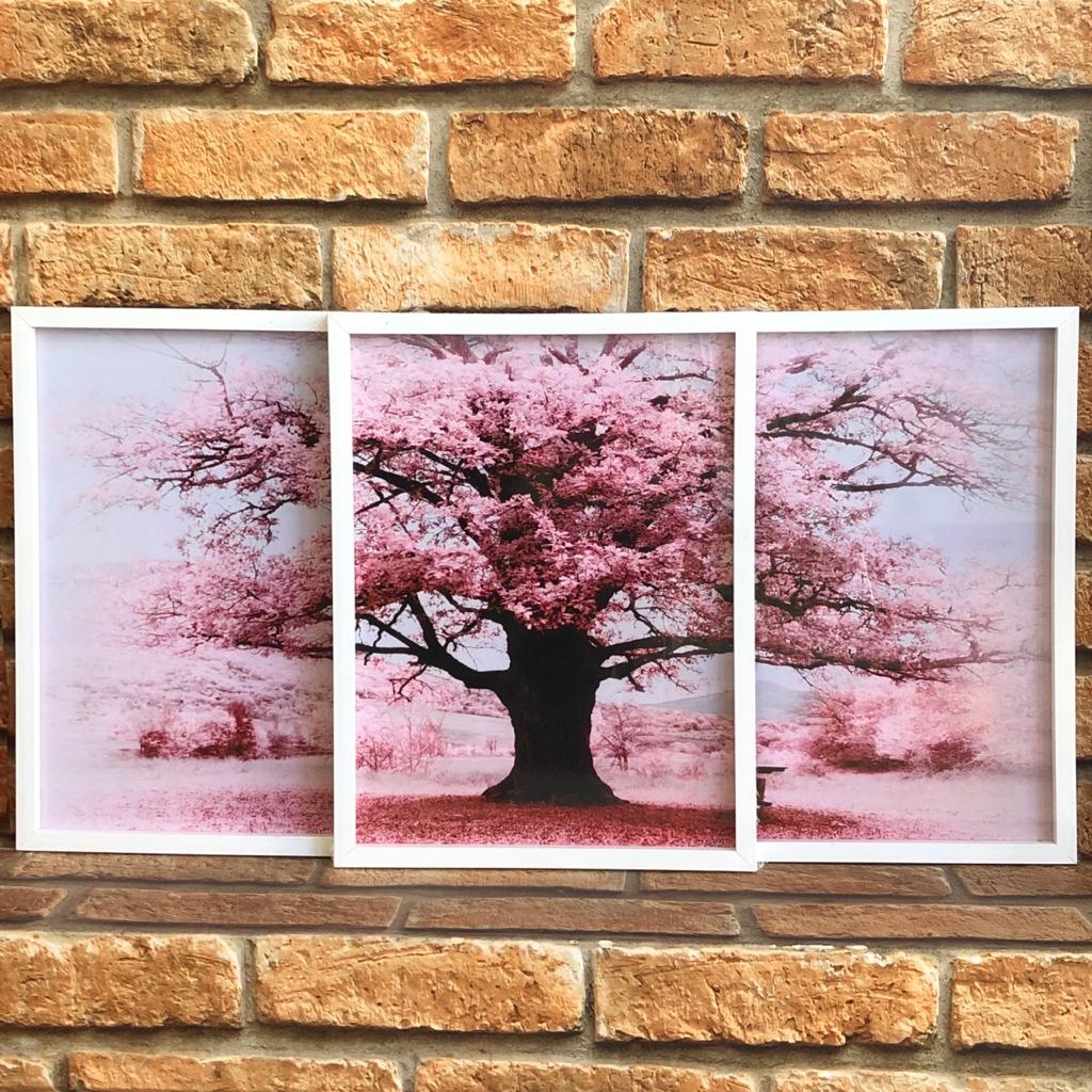 Trio de Quadros Árvore Sakura