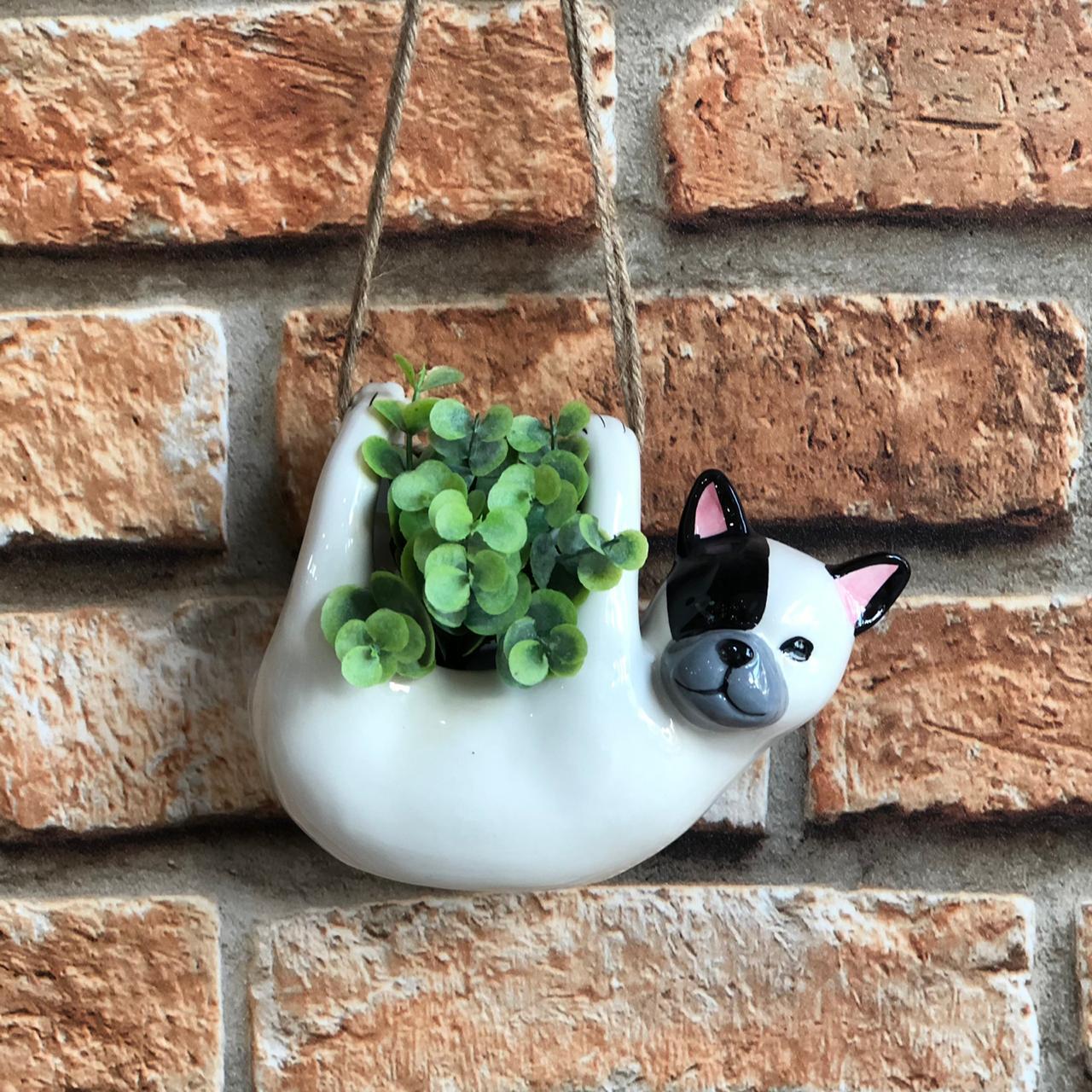 Vaso Cachepot Decorativo Cachorro de Pendurar