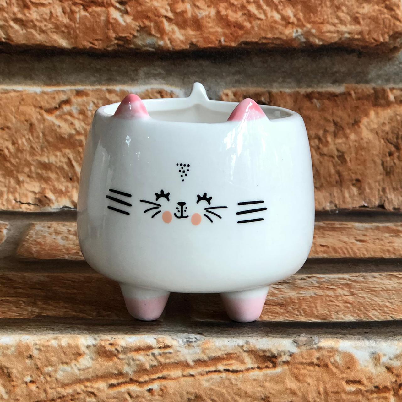 Vaso Cachepot Decorativo Bichinhos com Pé Porcelana
