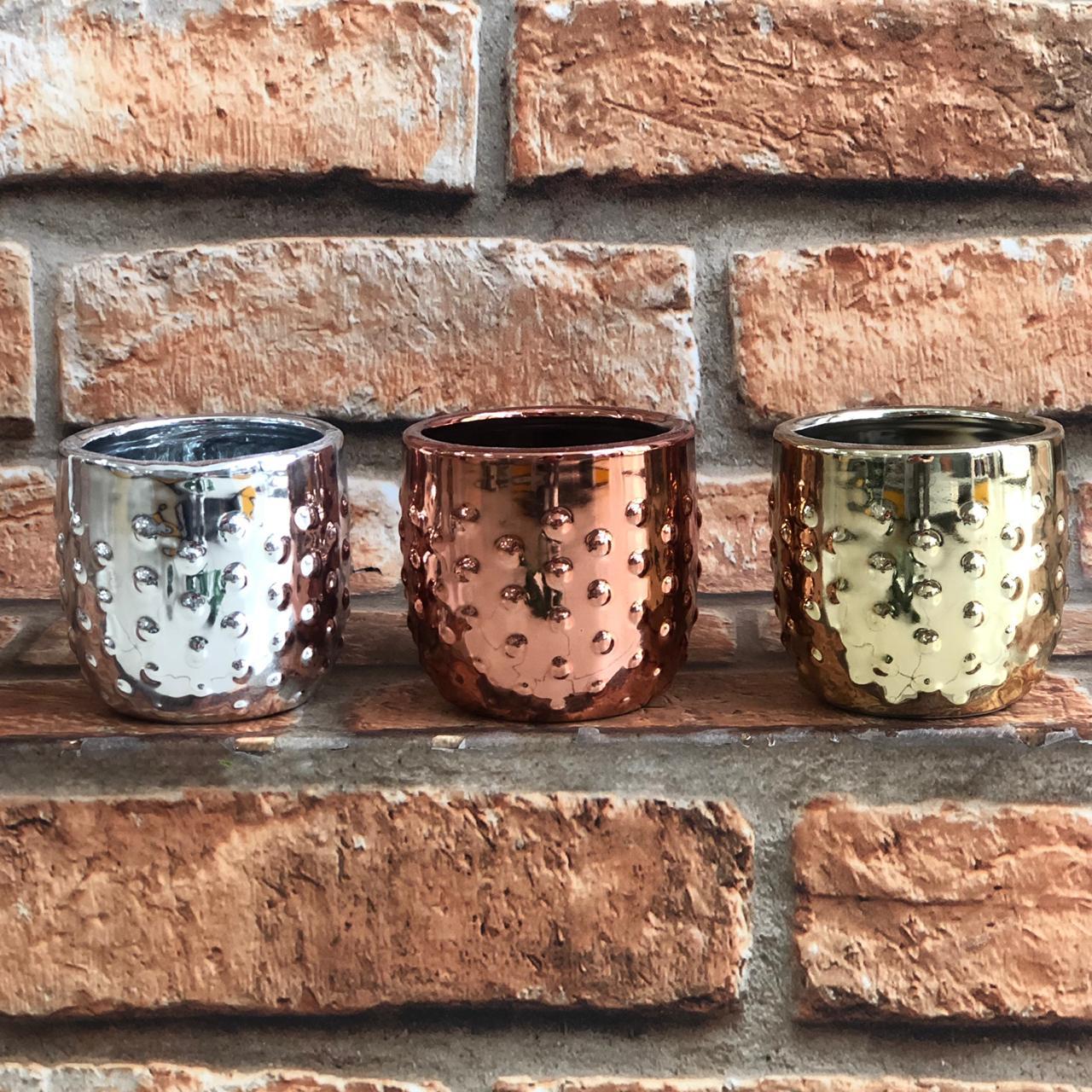 Vaso Cachepot Decorativo Bolinhas Prata/Rose Gold/dourado