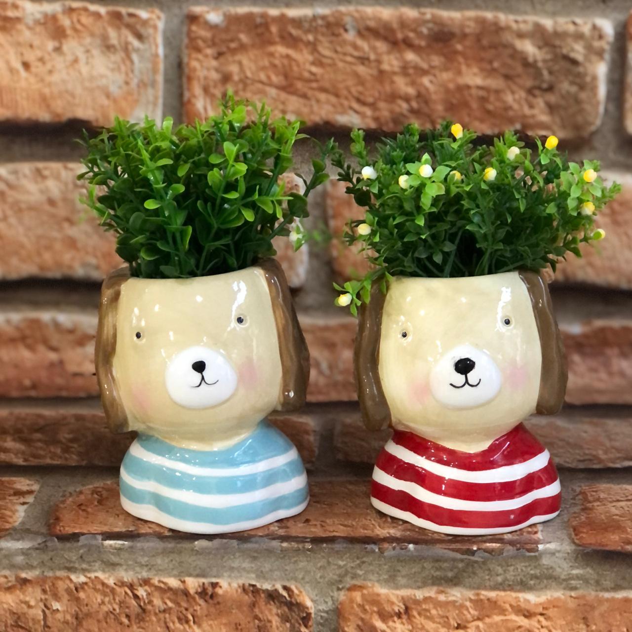 Vaso Cachepot Decorativo de Cachorro Porcelana