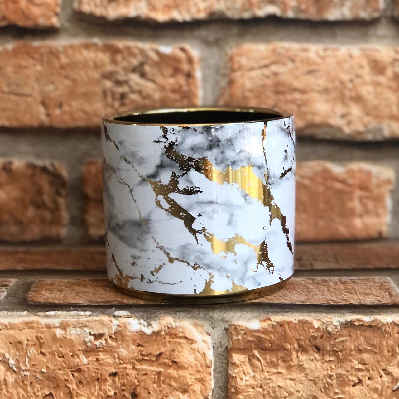 Vaso Cachepot Decorativo de Cerâmica Estampa Mármore Cromado Grande