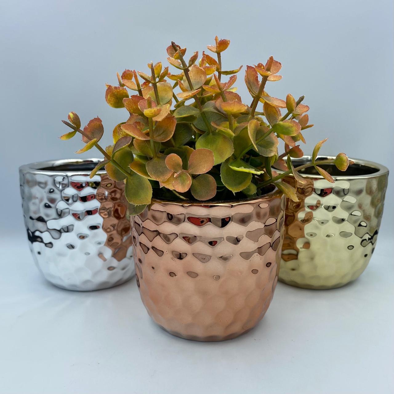 Vaso Cachepot Decorativo Escamas Prata/Rose Gold/dourado