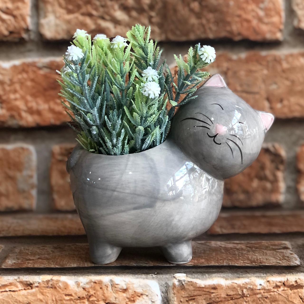 Vaso Cachepot Gato Cute de Porcelana