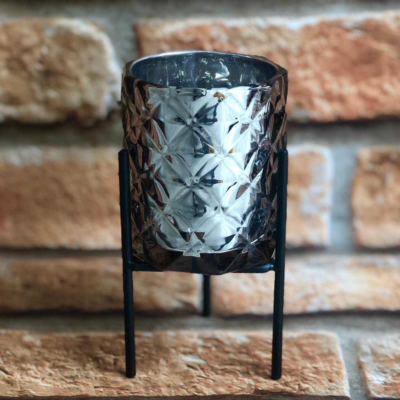 Vaso Decorativo Castiçal Porta Vela com Suporte