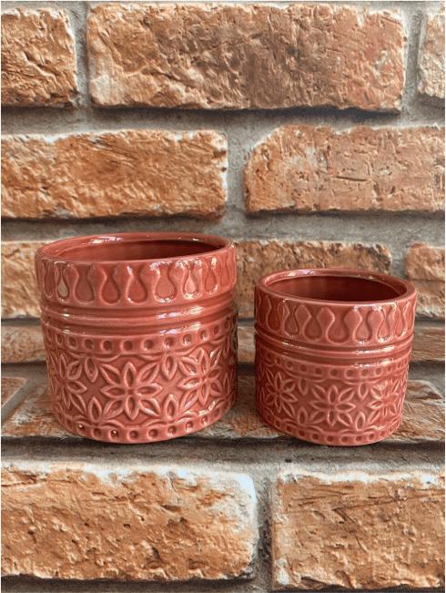 Kit Vasos Cachepots 2 Peças Porcelana