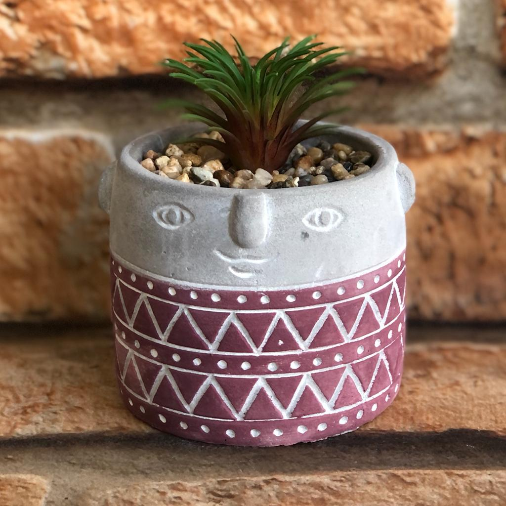 Vaso Decorativo Boneco de Cimento com Suculenta