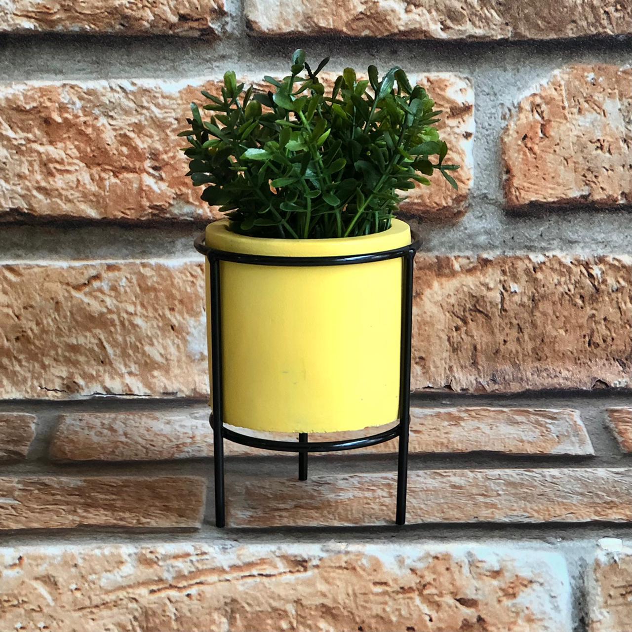 Vaso Decorativo Cimento com Suporte de Metal Colors