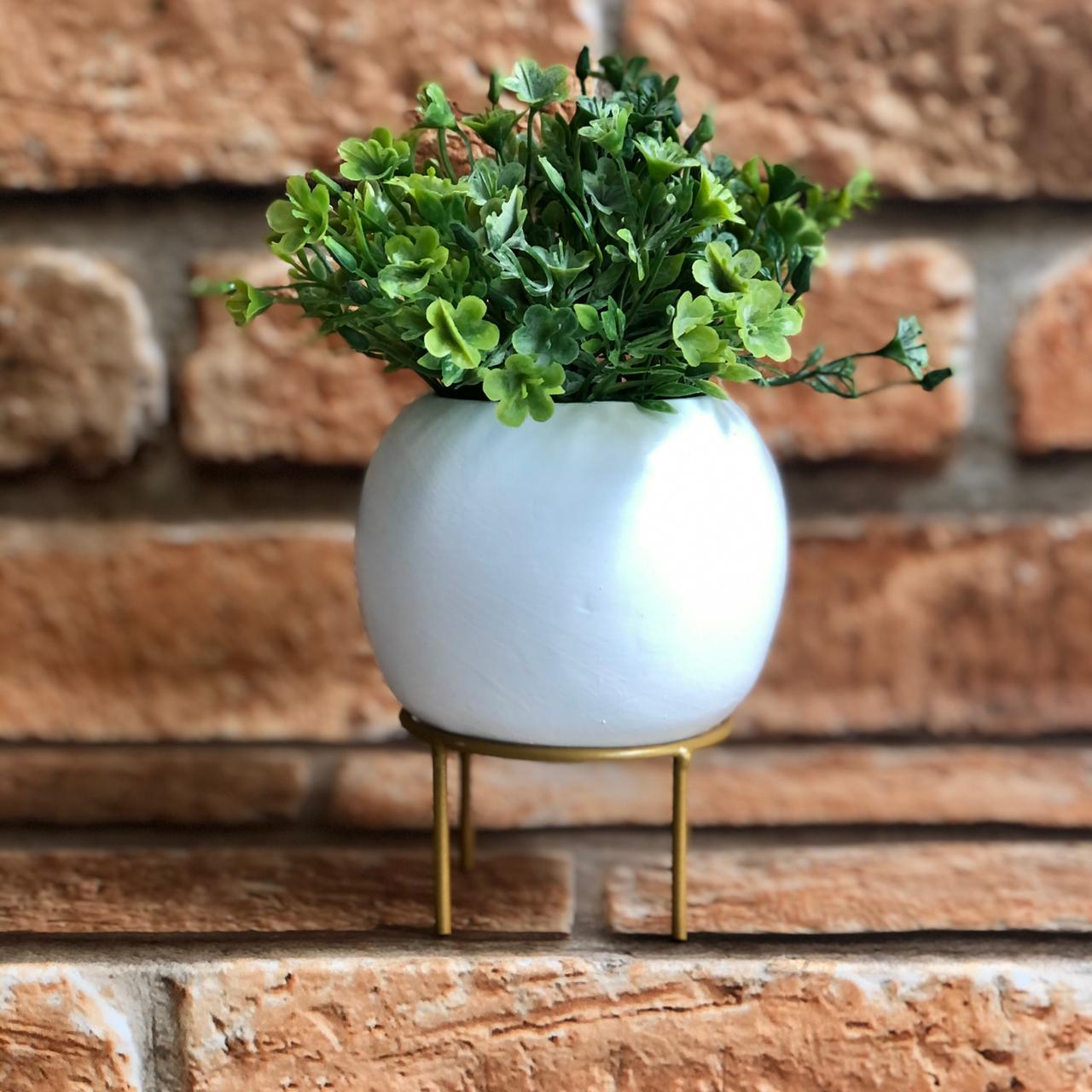 Vaso Decorativo Cimento com Suporte de Metal Redondo Rústico