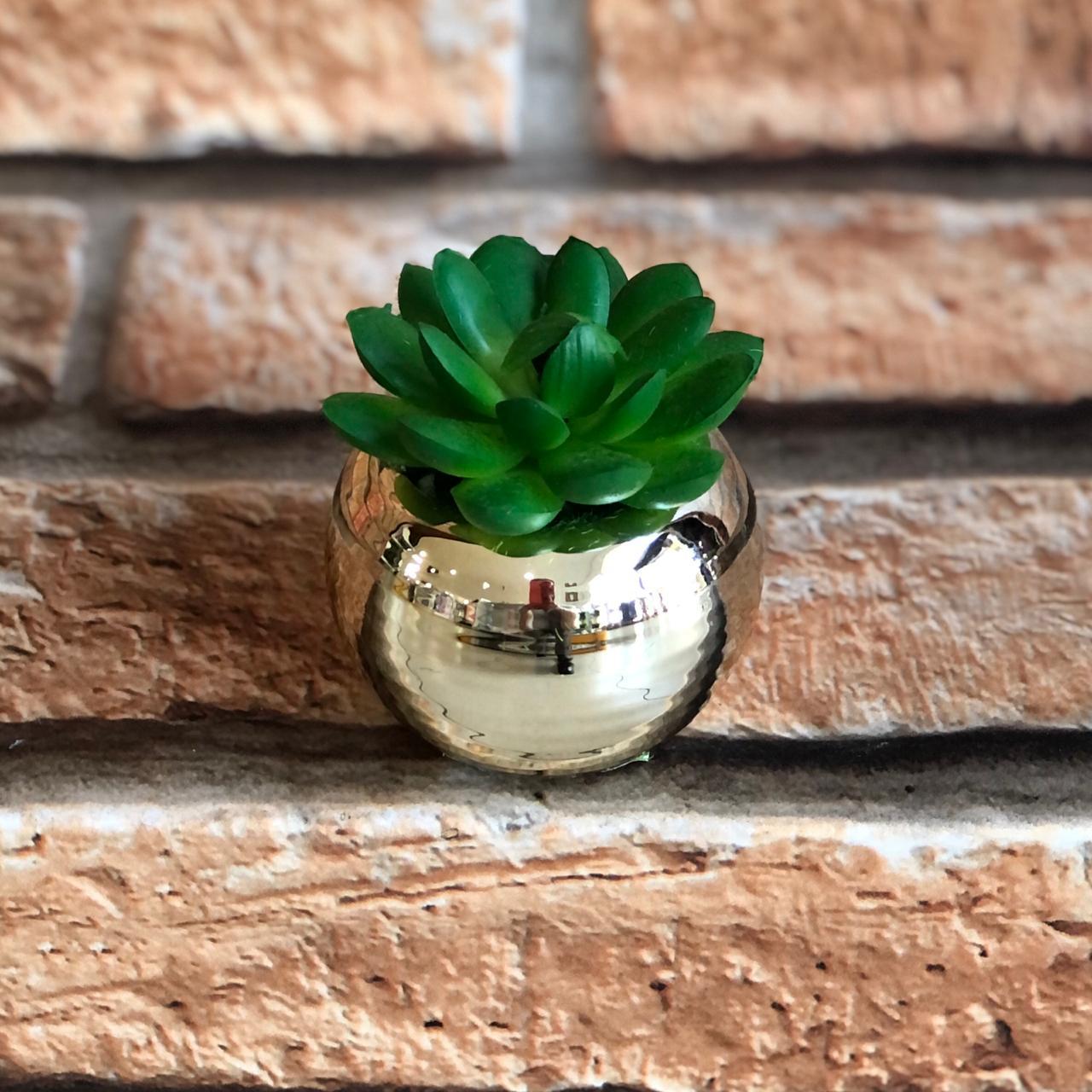 Vaso Decorativo Cromado com Suculenta Artificial