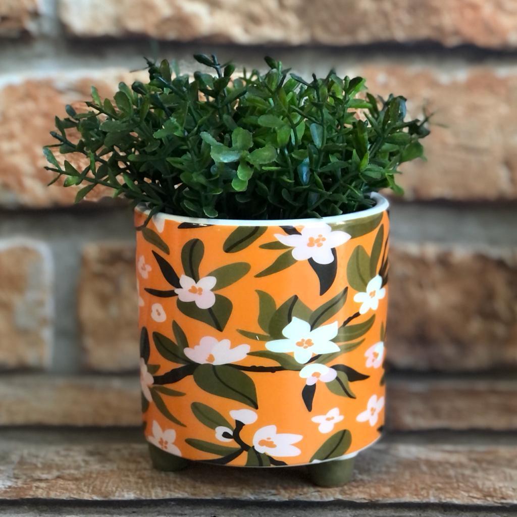 """Vaso Decorativo de Cerâmica Flores """"Faça Seu Melhor"""""""