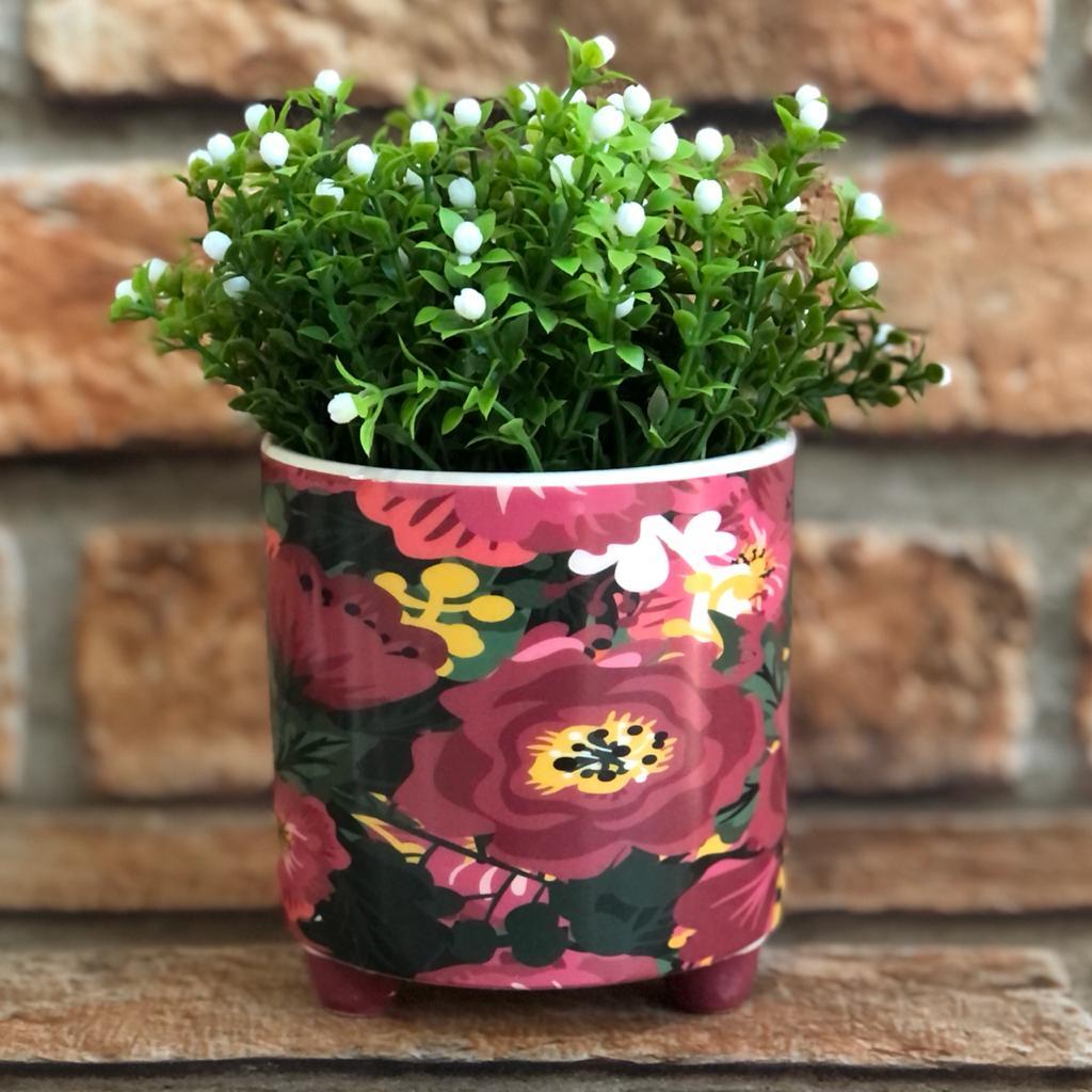 """Vaso Decorativo de Cerâmica Flores """"Vai Dar Certo"""""""