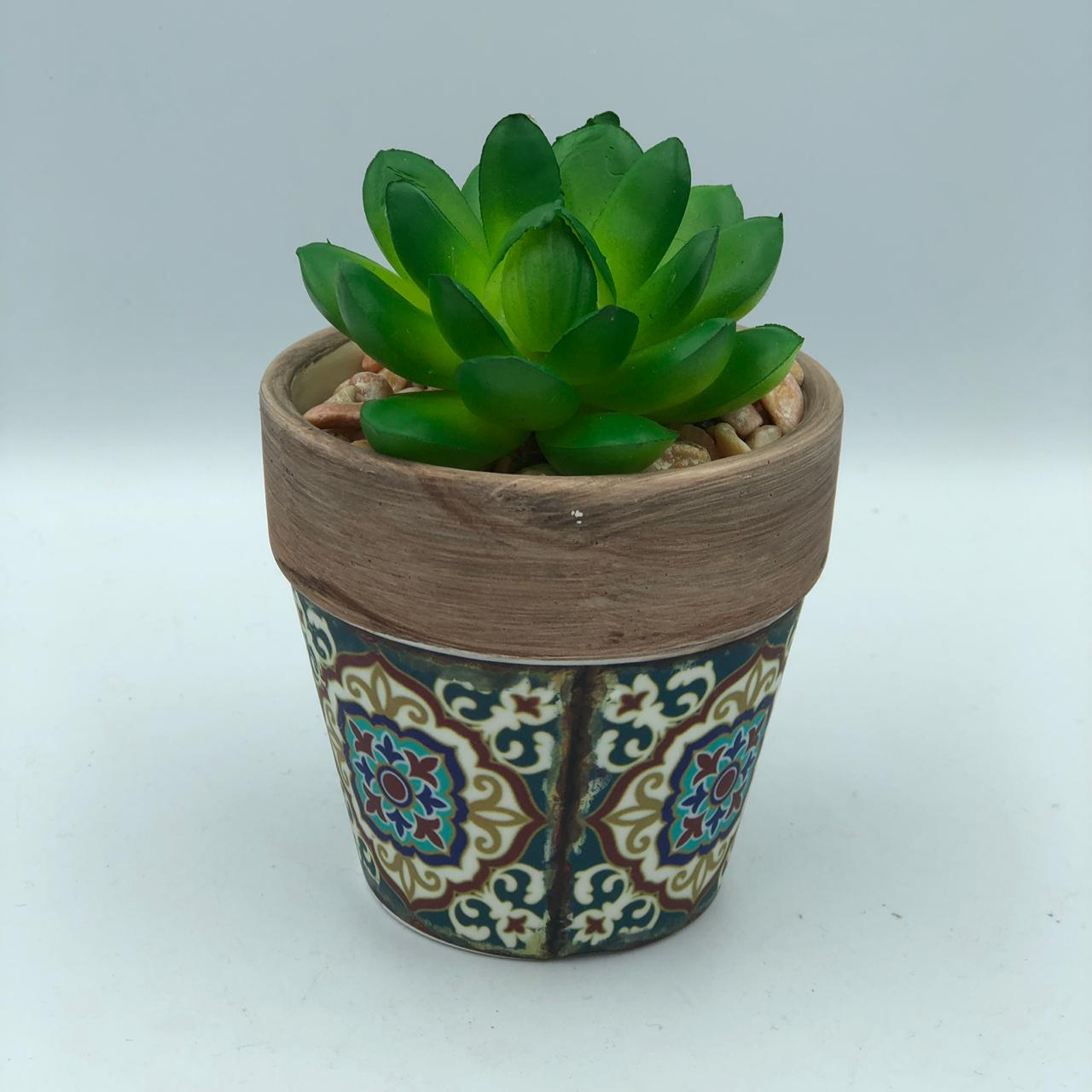 Vaso Decorativo de Porcelana Azulejo e Suculenta Artificial