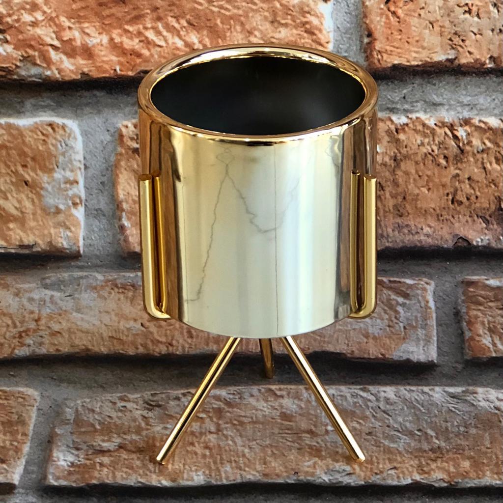 Vaso Gold de Cerâmica Tripé