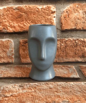 Cachepot Decorativo Cabeça Moais de Cerâmica