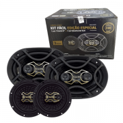 """Alto Falante Kit Facil Bravox Gold 6x9 + 6"""" 240W Rms"""