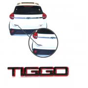 Aplique Emblema Logo Traseiro Tiggo Preto e Vermelho