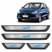 Kit Soleira de Porta Hyundai HB20 2013 a 2022 com LED Azul 4 Peças
