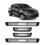 Kit Soleira Fiat Argo Plástica e Aço Inox c/ Led