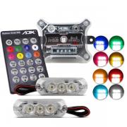 Strobo Automotivo AJK  Ritimo 2.0 Faróis RGB Com controle 3 LEDs