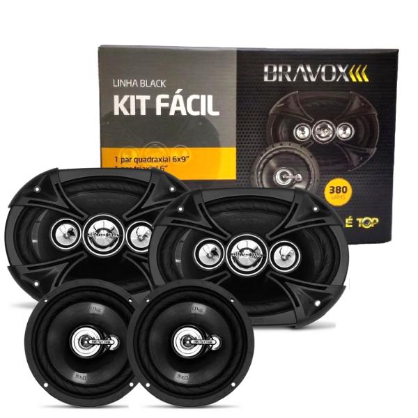 "Alto Falante Kit Facil Bravox Black 6x9 + 6"" 380W Rms"