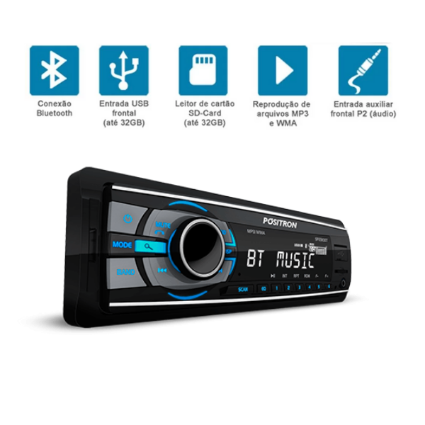 Auto Radio MP3 Positron SP2310BT USB/AUX/Bluetooth