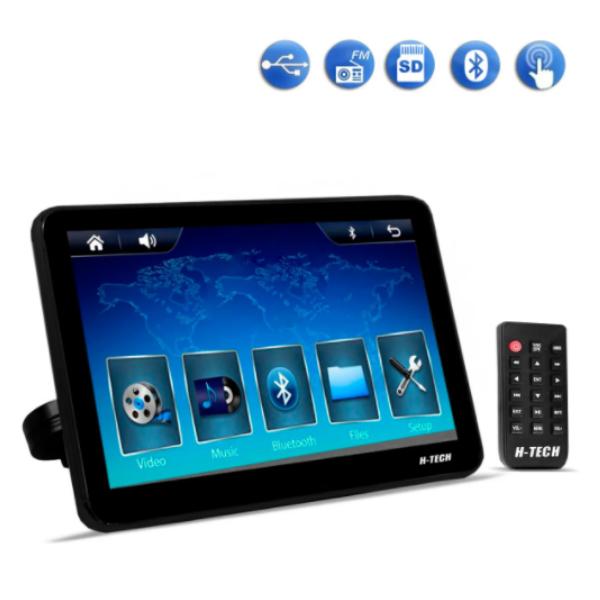 Encosto de Cabeça H-Tech 10 Polegadas Bluetooth Usb Aux Sd Acoplável