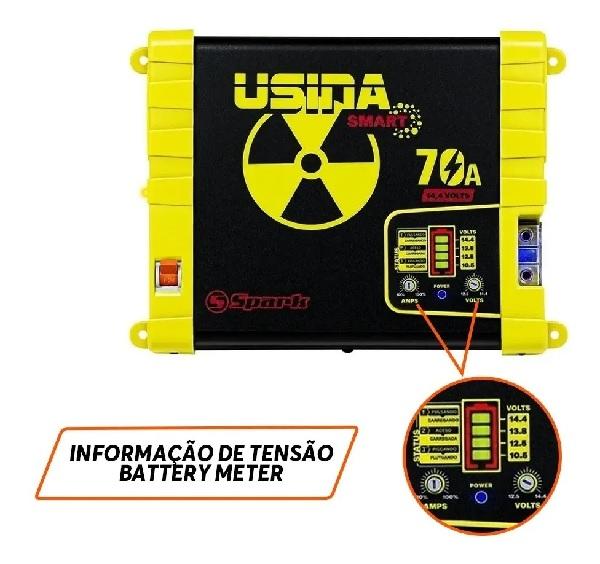 Fonte Automotiva Usina Spark 70a 12v Battery Meter Bivolt