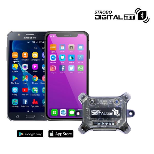 Kit 4 Strobos 8 cores Ajk + Central Avulsa Bluetooth