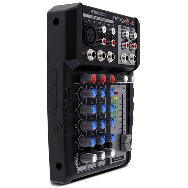 Mesa de Som Stetsom STM0803 3 Canais AUX/P10/XLR 4 Bandas de Equalização