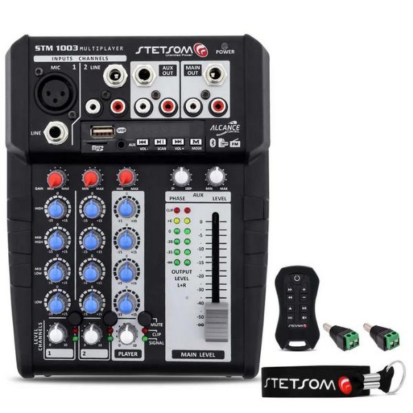 Mesa de Som Stetsom STM1003 4 Canais AUX/P10/XLR 4 Bandas de Equalização