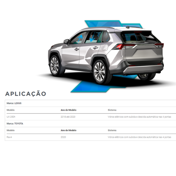 Modulo de Automação Vidros Elétricos Lexus/Toyota FT-AC-TY5