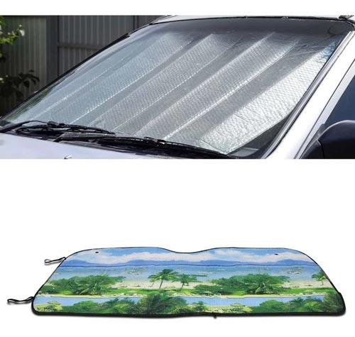 Protetor Solar Automotivo Painel Do Carro Com Estampa Praia