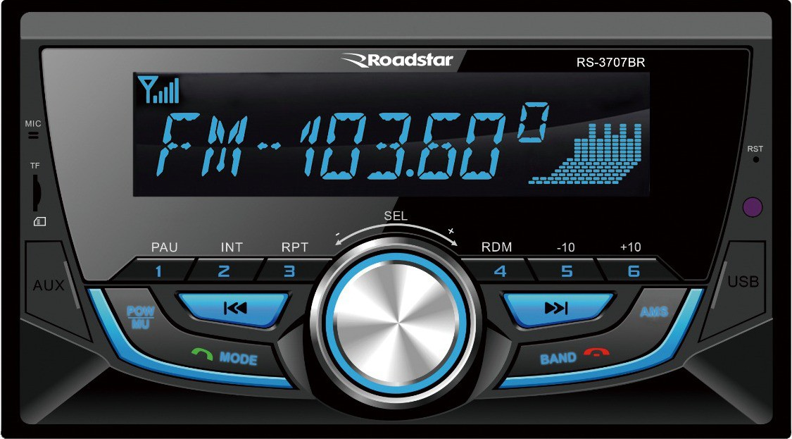 Radio 2 Din Roadstar RS-3707BR com Bluetooth / SD Card / USB