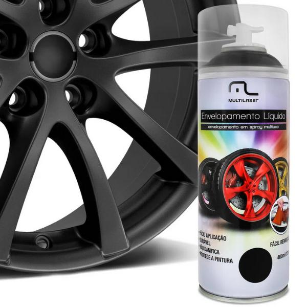 Spray Envelopamento Liquido Preto Fosco 400ml Multilaser Au420 Plástico Metais