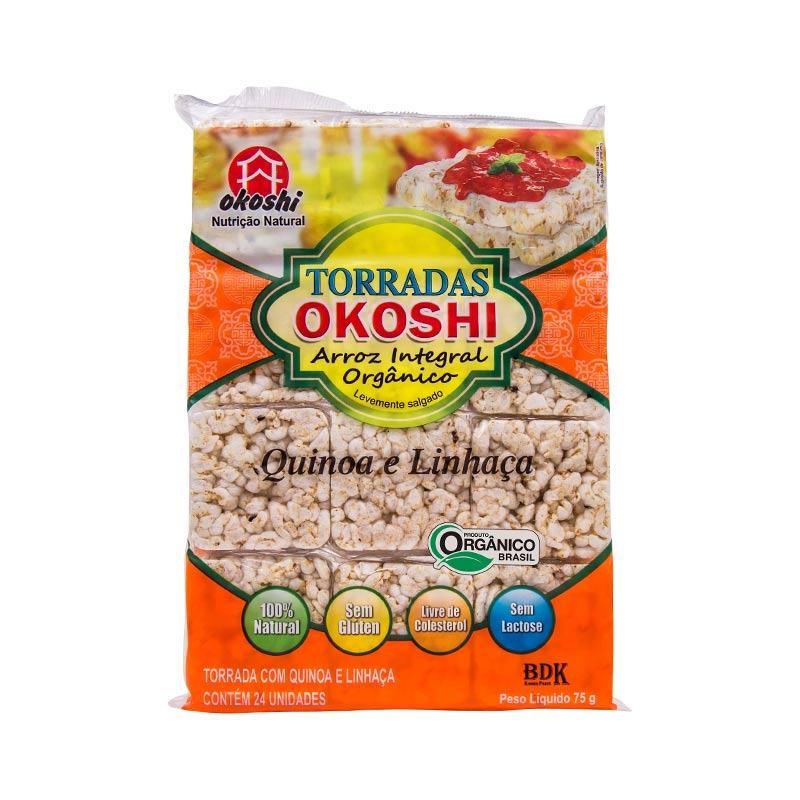 10 unidades - Torrada de Arroz Orgânico Quinoa e Linhaça