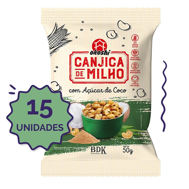 15 unidades - Canjica de Milho com Açúcar de Coco 50g